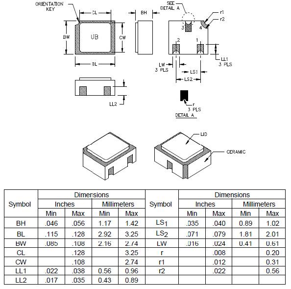MIL-PRF-19500/444 Schottky Barrier Diode: 1N5711UB, UBCA, UBCC, UBD